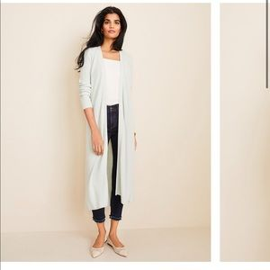 Ann Taylor Icy Sage Ribbed Duster Sweater